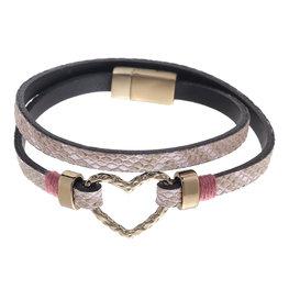 Wikkel armband wrap met hart